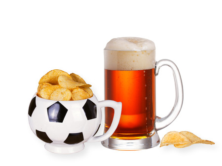 real ale: Glass of beer and crisps isolated on  white background Stock Photo