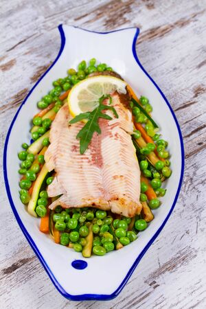 broiled: Broiled Trout and Vegetables Stock Photo