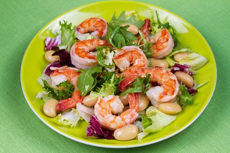 Shrimp and white bean salad Stock Photo