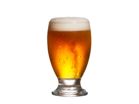 beer glass: Glass of beer isolated on white background Stock Photo