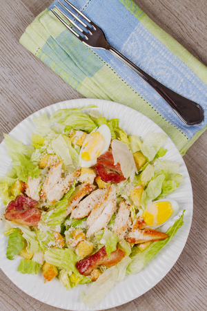 bacon and eggs: Chicken, Bacon, Eggs and Breadsticks Salad Stock Photo