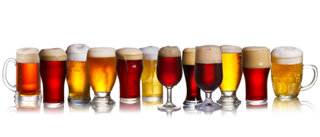 Set of various beer isolated on a white background 免版税图像