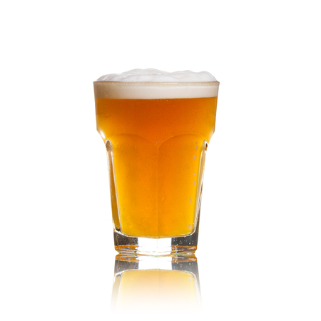 real ale: Glass of beer isolated on white background Stock Photo