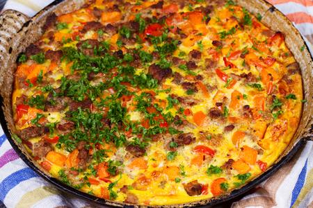 shephard: Butternut squash and sausage frittata. Pumpkin, meat, red pepper and egg casserole