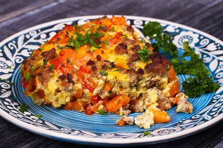 shephard: Butternut squash and sausage frittata. Pumpkin, meat, red pepper and egg casserole