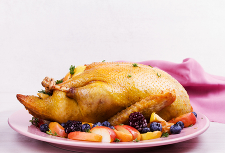 Roast duck with apples and berries. Copy space Stock Photo