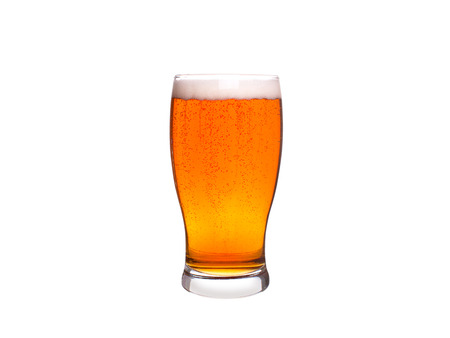 Glass of beer isolated on white background. Ale