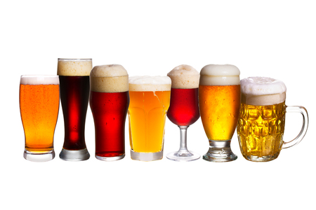 Set of various beer glasses. Different glasses of beer. Ale isolated on white background Stock Photo