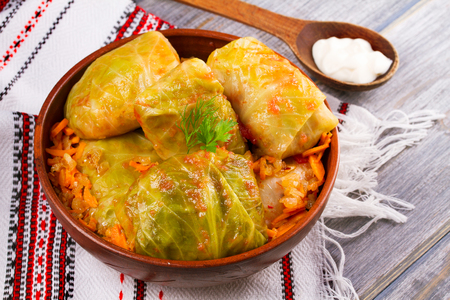 Stuffed cabbage leaves with meat. Cabbage rolls with meat, rice and vegetables. Dolma, sarma, sarmale, golubtsy or golabki, horizontal