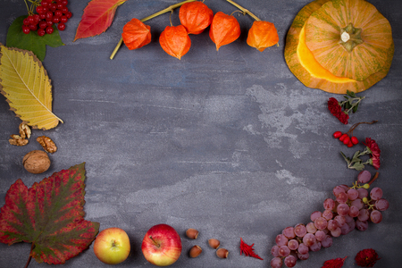 Harvest or Thanksgiving background. Thanksgiving Day food concept. Autumn fruits, vegetables, leaves and flowers. View from above, top, frame, copy space, horizontal