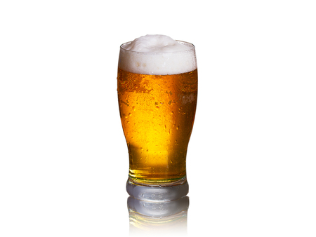 Beer on white background, horizontal. Glass of ale