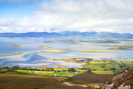 Beautiful scenic sea and mountain landscape with islands. View from Croagh Patrick - mountain in Co. Mayo, Westport, West coast of Ireland, Atlantic ocean