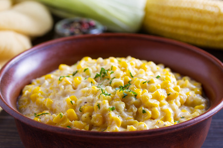 Sweet and creamy skillet corn. Homemade corn dish