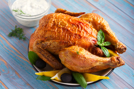 Chicken with Greek Tzatziki Sauce (made with yogurt, cucumber, garlic, dill and olive oil) Stock Photo