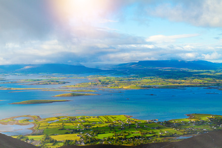 Beautiful scenic sea and mountain landscape with islands. View from Croagh Patrick - mountain and an important site of pilgrimage in County Mayo, Ireland