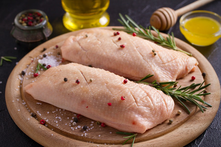 Raw uncooked poultry meat. Duck breasts prepared for cooking