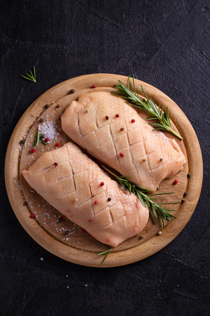 Raw uncooked poultry meat. Duck prepared for cooking