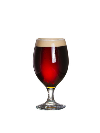 Glass of red dark beer. Ale, isolated on white background