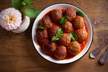 Meatballs in tomato sauce. Home made food. Concept for a tasty and healthy meal