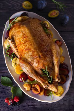 Whole duck with potatoes, plums and herbs. View from above, top studio shot 스톡 콘텐츠 - 129769386