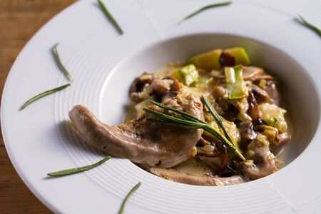 Lamb tongues with stewed vegetables and cream sauce