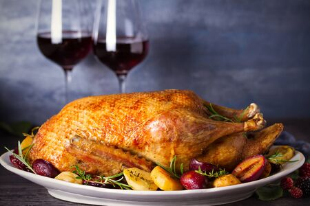 Baked duck with potatoes, plums, rosemary and thyme, close-up on plate, two glasses of red wine. Horizontal, room for text, copy space