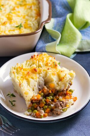 Classic homemade Shepherd's Pie (mashed potato and beef or lamb with vegetables)