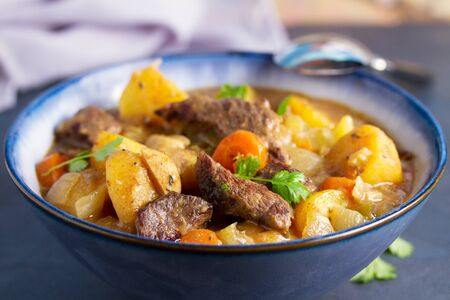 Slow cooker thick and chunky beef stew Foto de archivo