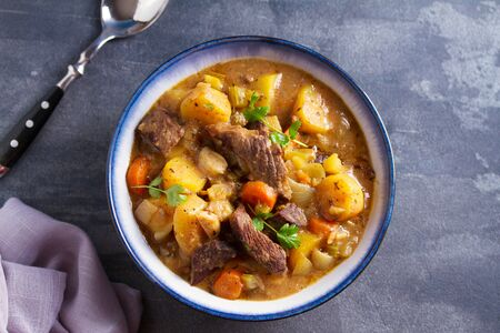 Slow cooker thick and chunky beef stew. View from above, top Stock Photo - 133814548