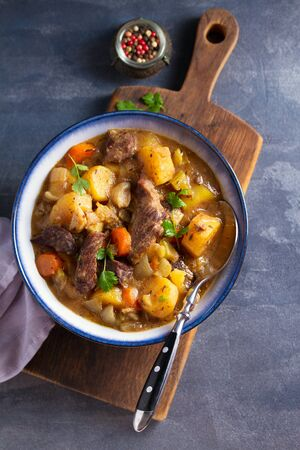 Slow cooker thick and chunky beef stew. View from above, top Stock Photo - 133814551