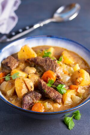 Slow cooker thick and chunky beef stew Stock Photo