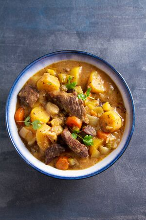 Slow cooker thick and chunky beef stew. View from above, top