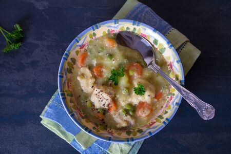 Bowl of chicken stew with vegetables on dark gray background. Stock Photo