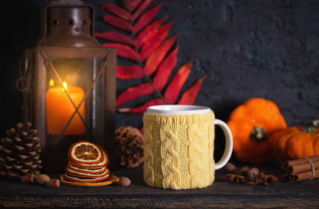 Autumn Thanksgiving Background with lantern, pumpkins and knitted cup. Winter holidays composition