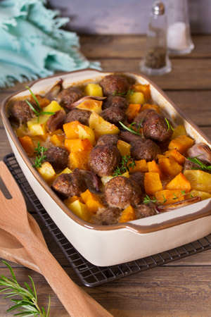 Meatballs with butternut squash and potatoes