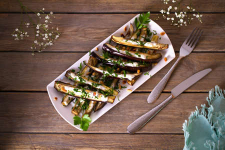 Eggplants or aubergines with yoghurt sauce, nuts and parsley. Overhead horizontal photo 免版税图像