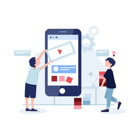 Mobile app development concept banner with characters. Can use for web banner, infographics, hero images. Flat illustration isolated on white background. Vettoriali