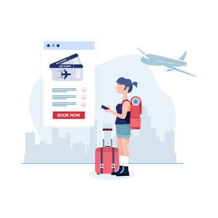 Modern flat design concept of Book your flight for Landing page template. Easy to edit and customize.