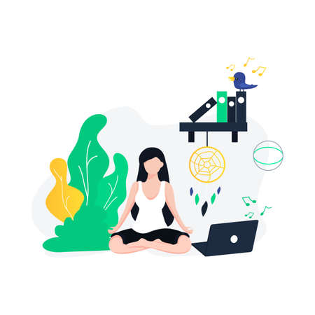 Relaxed calm business woman take deep breath of fresh air resting with eyes closed at work in office, serene happy female employee meditate feeling no stress free relief at workplace Illustration