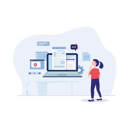 Engaging content marketing. vector illustration business concept mix social media sharing flat advert banner design presentation website template background