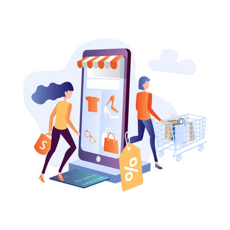 Young woman shop online using smartphone. Flat vector design with e-commerce and online shopping icons and elements for mobile story.