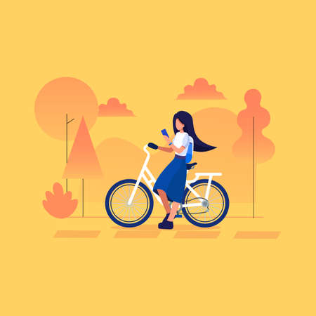 Young female traveler sitting with bicycle and using smart phone on the Trip . Travel concept flat vector illustration for banner, poster, template, layout, website, postcard Çizim