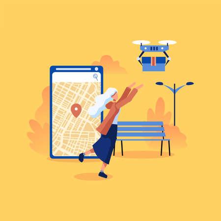 Moderno concetto di design piatto del servizio di consegna Drone per sito Web e sito Web mobile. Quadricottero che sorvola una mappa e porta un pacco al cliente. Vettoriali