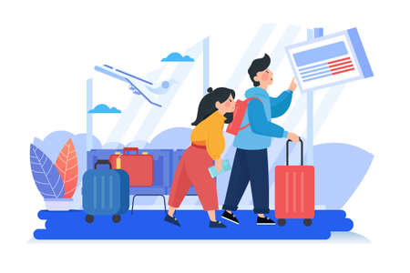 Man and woman couple in airport waiting for flight. Concept flight is delayed. Can use for web banner, infographics, hero images.