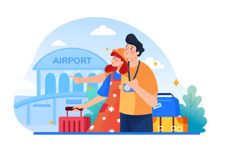 Traveling couple of young people. Man and woman with luggage are go in the airport building. Can use for web banner, infographics, hero images.