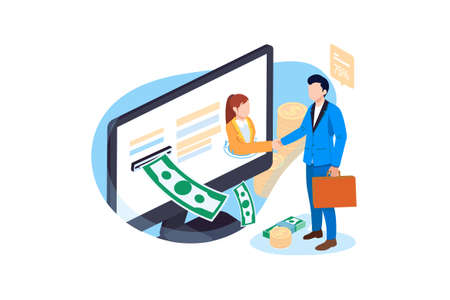 Finance & Banking Vector Illustration concept. Can use for web banner, infographics, hero images. Flat illustration isolated on white background. 벡터 (일러스트)