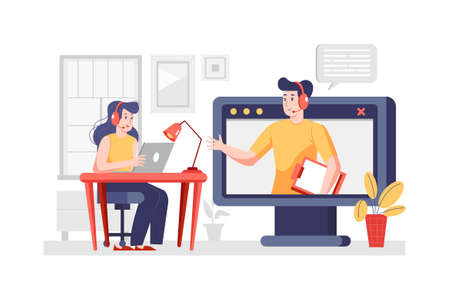 Call Center Vector Illustration concept. Can use for web banner, infographics, hero images. Flat illustration isolated on white background.