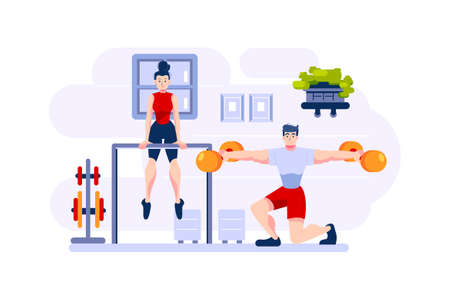 Fitness & Workout Vector Illustration concept. Can use for web banner, infographics, hero images. Flat illustration isolated on white background. Ilustrace