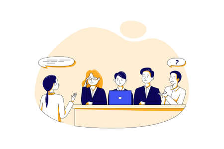 Job Interview Vector Illustration concept. Can use for web banner, infographics, hero images. Flat illustration isolated on white background.