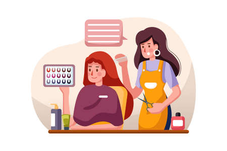 Beauty Salon Vector Illustration concept. Can use for web banner, infographics, hero images. Flat illustration isolated on white background. 向量圖像